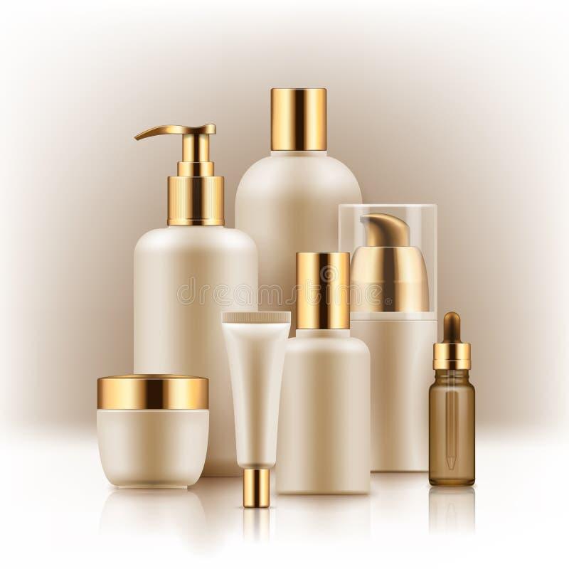 Realistyczny luksusowy premia gatunku set kosmetyczne butelki, mockup, 3D royalty ilustracja