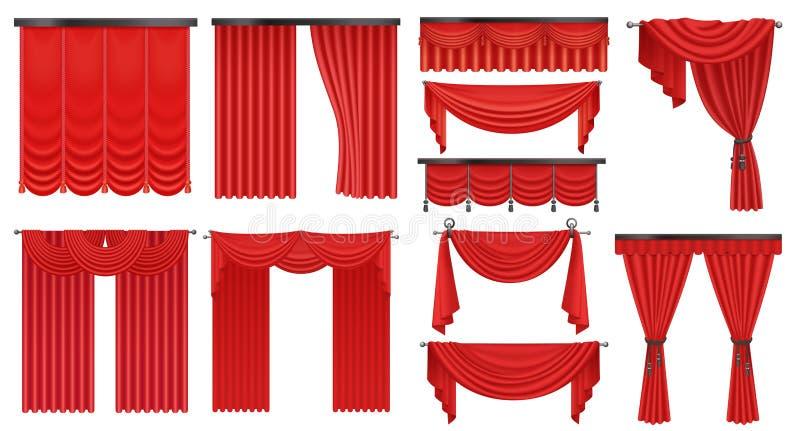 Realistyczny luksusowy szkarłatny czerwony jedwab, drogie aksamitne zasłoien draperie ustawia odosobnioną wektorową ilustrację royalty ilustracja