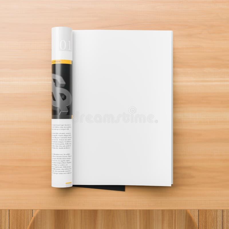Realistyczny magazynu lub katalogu egzamin próbny na w górę drewnianego stołu Pusta magazyn strona dla mockups ilustracja 3 d fotografia royalty free