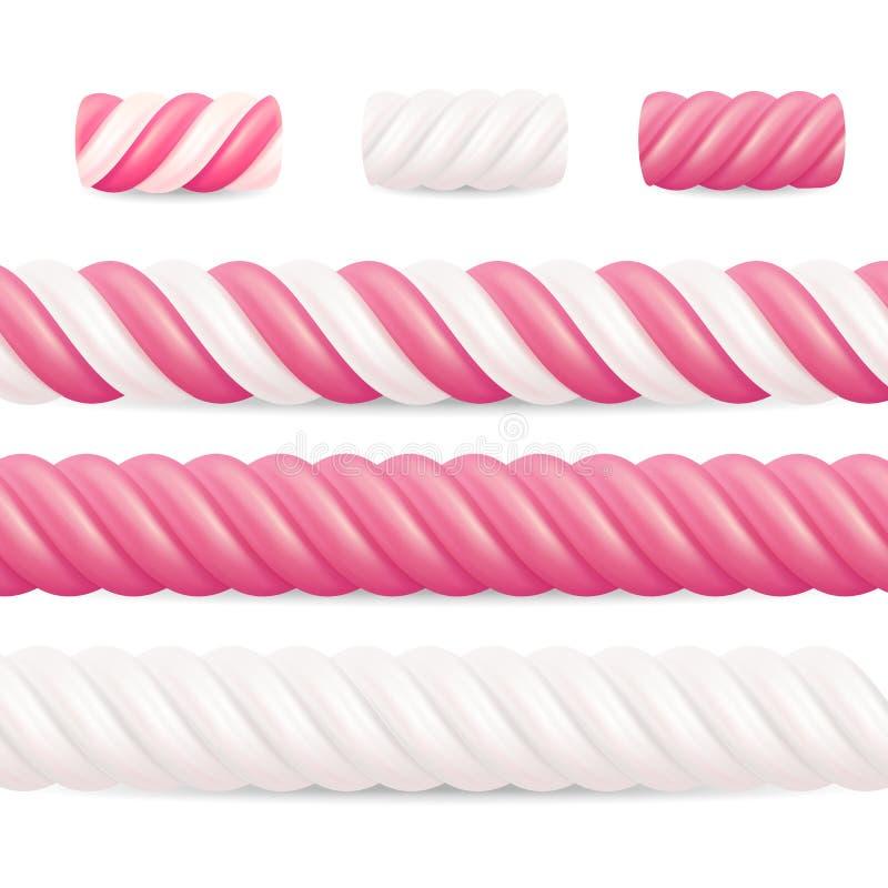 Realistyczny Marshmallow cukierku wektor Ustaleni Kolorowi Kręceni Marshmallows ilustracji