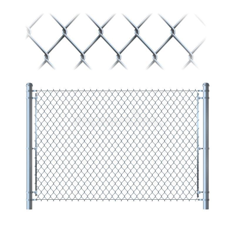 Realistyczny metalu łańcuszkowego połączenia ogrodzenie metal siatka na odosobnionym na whit royalty ilustracja