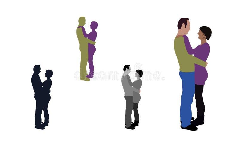 Realistyczny mieszkanie barwił ilustrację przytulenie para royalty ilustracja