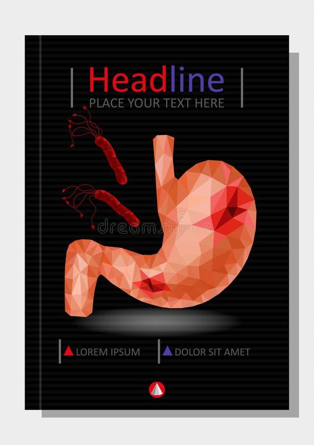 Realistyczny niski poli- ludzki żołądka i dwunastnicy pokrywy projekt Gast ilustracja wektor