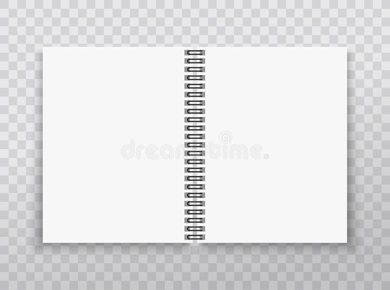 Realistyczny notatnika mockup Copybook z kruszcową srebro spiralą Puste miejsce egzamin próbny up z cieniem również zwrócić corel ilustracja wektor