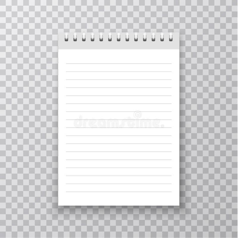 Realistyczny notatnika mockup Copybook z kruszcową srebro spiralą Puste miejsce egzamin próbny up z cieniem również zwrócić corel royalty ilustracja