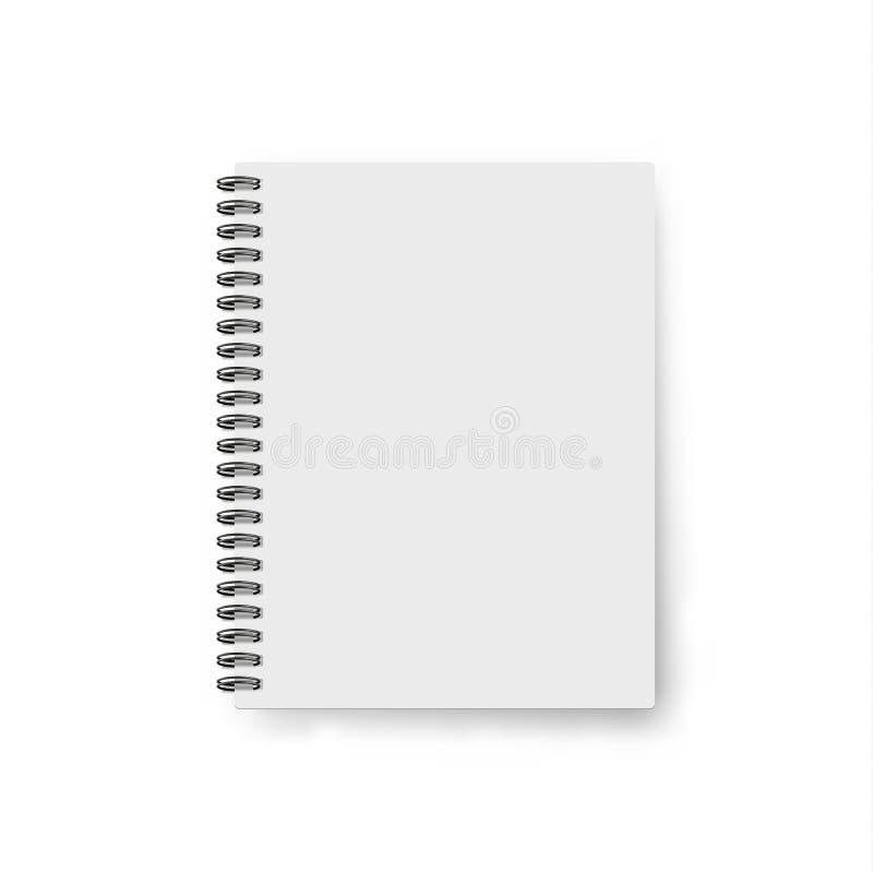 Realistyczny notatnika szablon Pustej pokrywy projekt Egzamin próbny w górę notatników ilustracja wektor