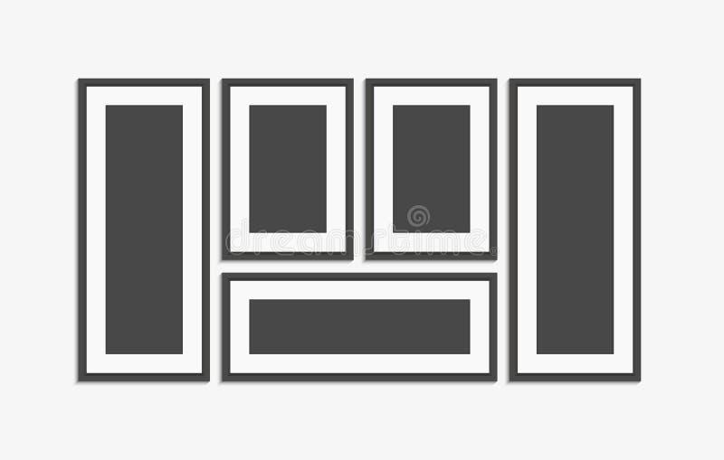 Realistyczny nowożytny ścienny czarny obrazek ramy wektoru set Obrazuje szablon royalty ilustracja