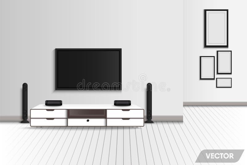 Realistyczny nowożytny wewnętrzny żywy pokój i dekoracyjny meble , Telewizyjny i stereo otaczanie nauczyciela domowego wystrój , ilustracja wektor