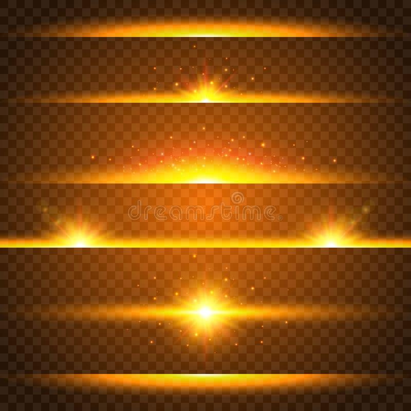Realistyczny obiektywu racy set Kolekcja złociści lekcy skutki na przejrzystym tle Błysk z promieniami i światłem reflektorów ilustracji