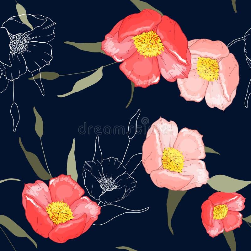 Realistyczny odosobniony bezszwowy kwiatu wzór rocznika set Wallpap ilustracja wektor