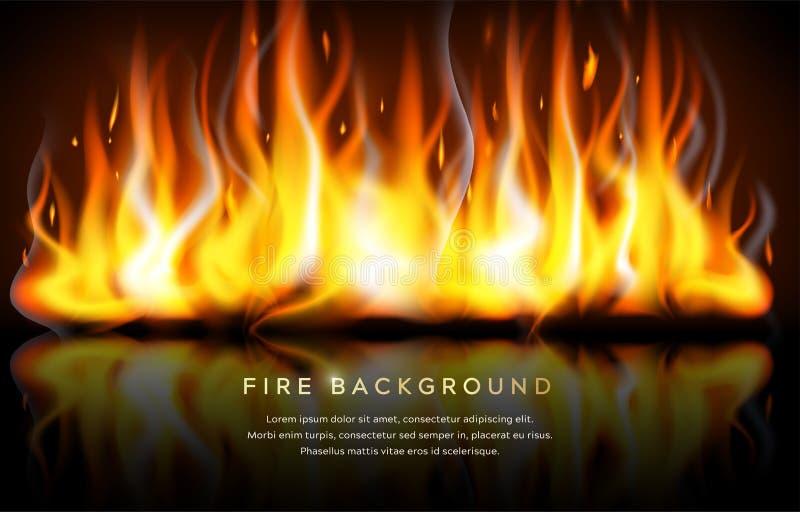 Realistyczny ogień płonie odbicia tła tekst ilustracja wektor