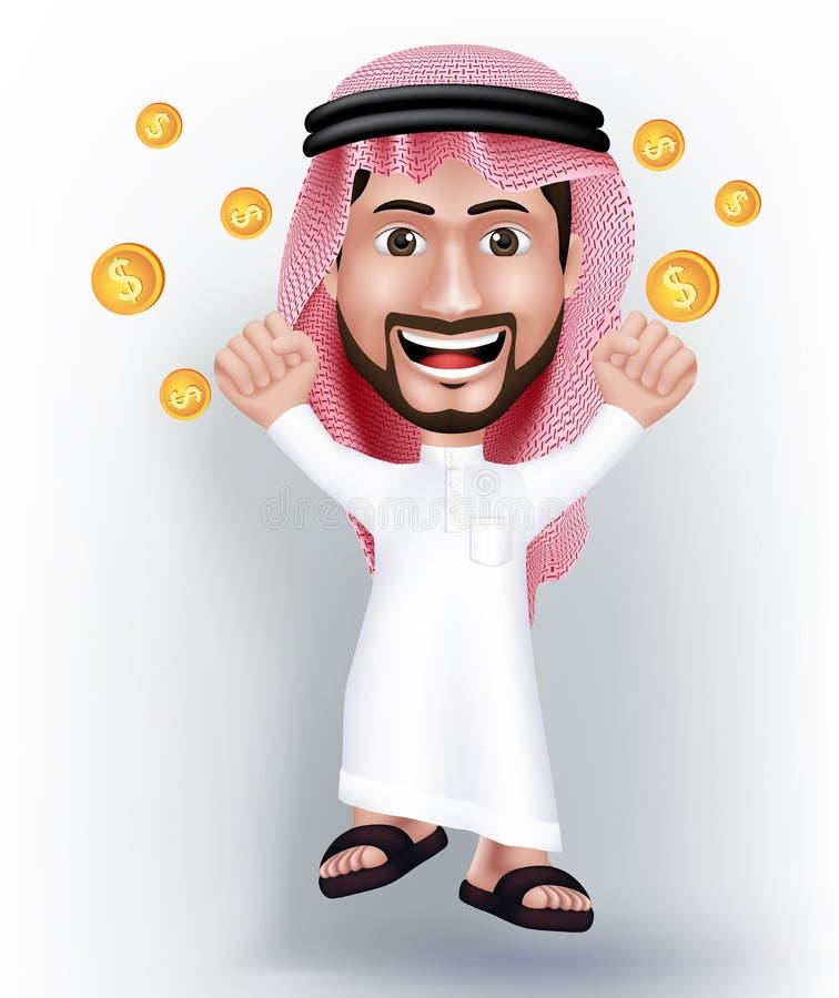 Realistyczny ono Uśmiecha się Przystojny Saudyjski mężczyzna charakter royalty ilustracja