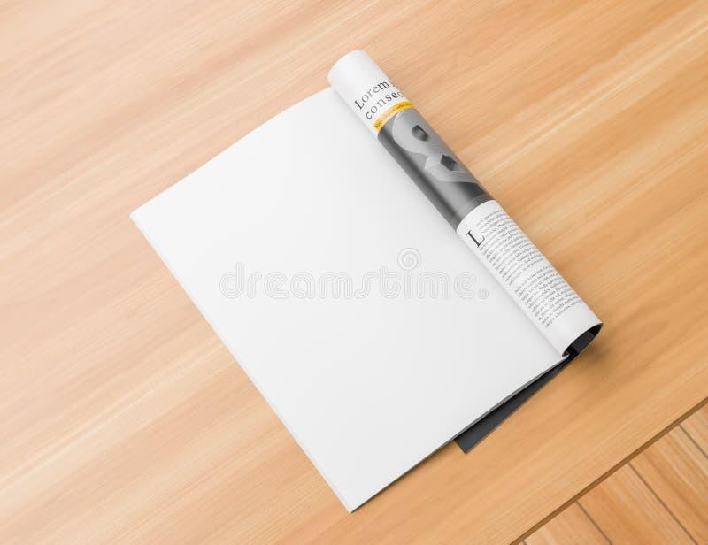 Realistyczny, opuszczać strona odizolowywającego magazynu lub katalogu egzamin próbnego w górę drewnianego stołu na Pusta magazyn ilustracja wektor
