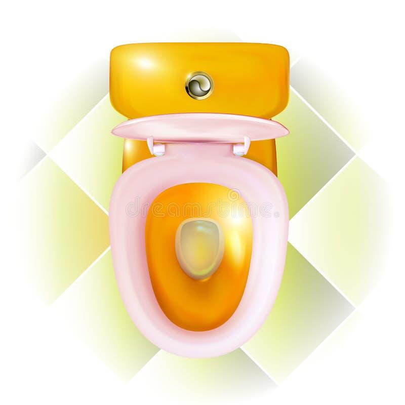Realistyczny otwarty złoty Toaletowy puchar z nowożytnym menchii siedzeniem Gospodarstwo domowe odizolowywaj?ca ilustracja widoku royalty ilustracja