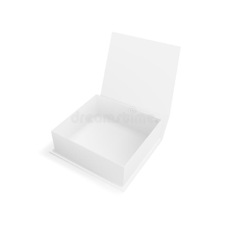 Realistyczny Otwiera Jasnego Białego prezenta pudełko Dla Oznakować ilustracja wektor