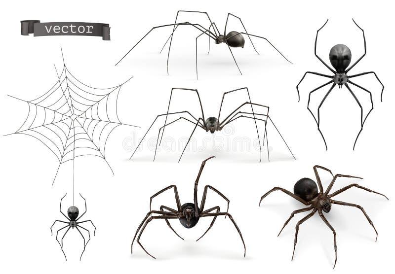 Realistyczny pająk Halloweenowy 3d ikony wektorowy set ilustracja wektor