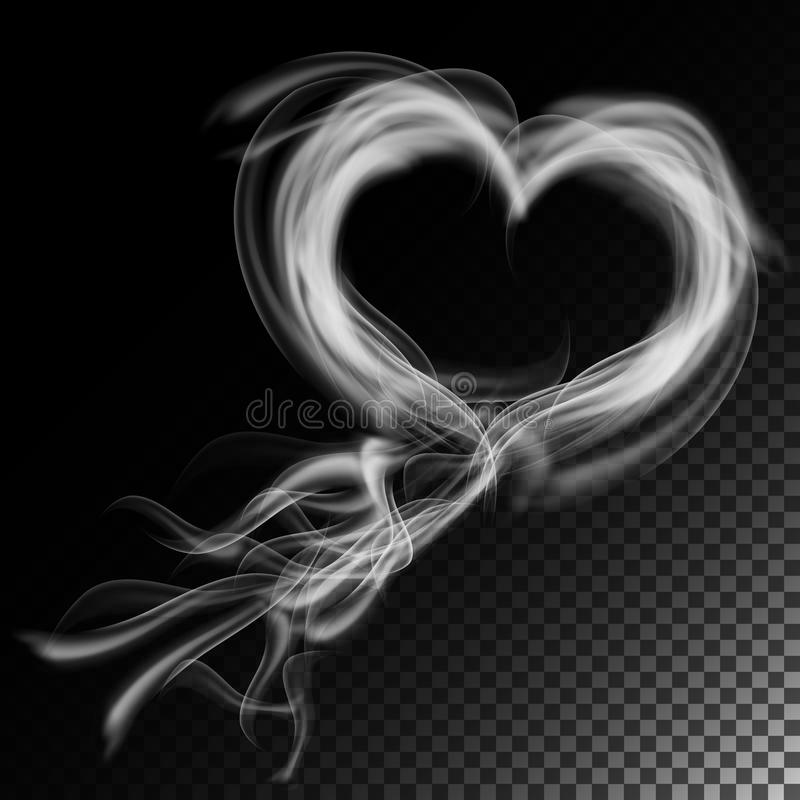Realistyczny papierosu dymu fala wektor Chmury W serce formie Odizolowywający Na W kratkę tle ilustracji