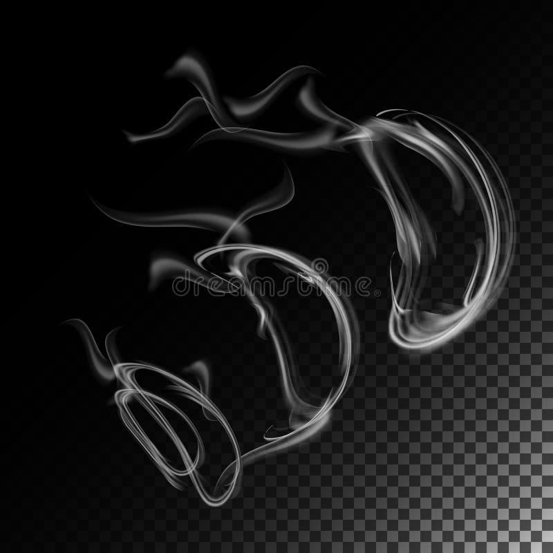 Realistyczny papierosu dymu fala wektor Dymna Lub Parowa tekstura, Tworząca Z Gradientową siatką Dym Odizolowywający Nad czernią  ilustracja wektor