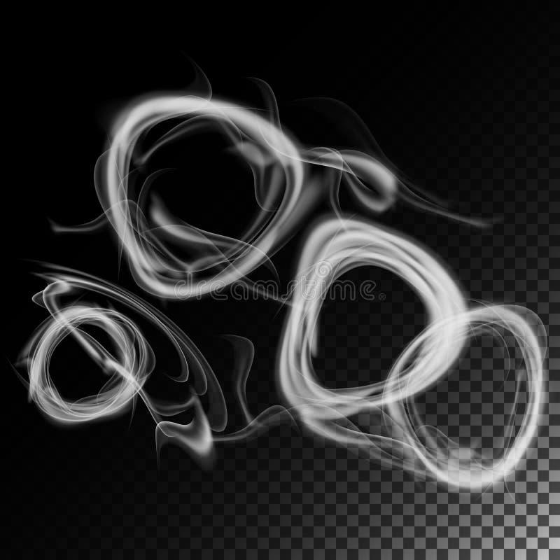 Realistyczny papierosu dymu fala wektor Set dymny abstrakt, wykonuje realistycznego dym Dymów pierścionki royalty ilustracja