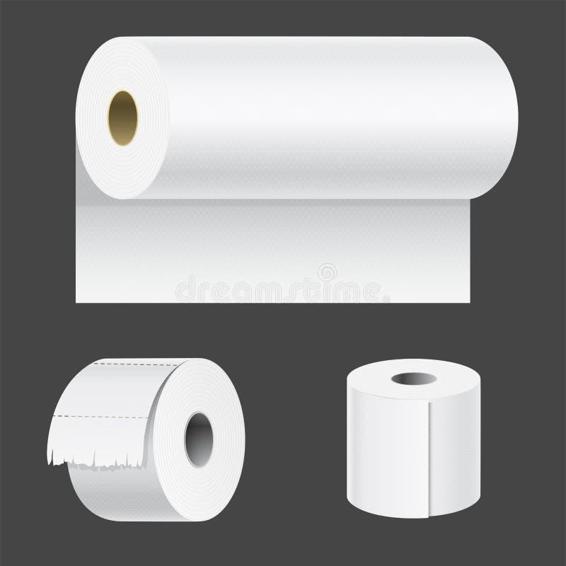 Realistyczny papierowy rolka egzamin próbny up ustawia odosobnionego wektorowego ilustracyjnego pustego biel 3d pakuje kuchennego royalty ilustracja