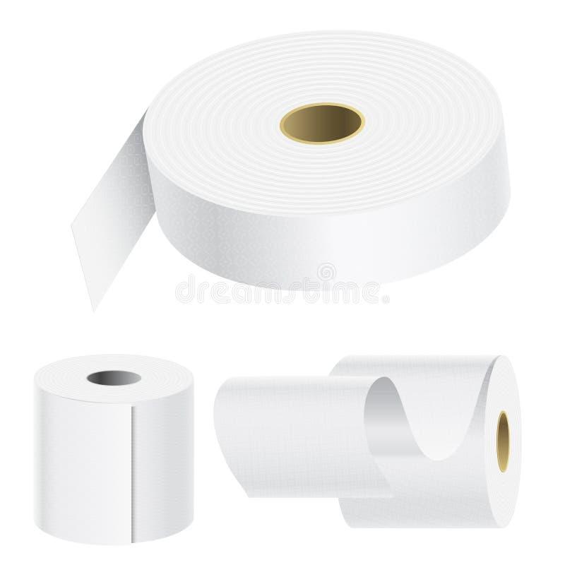 Realistyczny papierowy rolka egzamin próbny up ustawia odosobnionego wektorowego ilustracyjnego pustego biel 3d pakuje kuchennego ilustracji