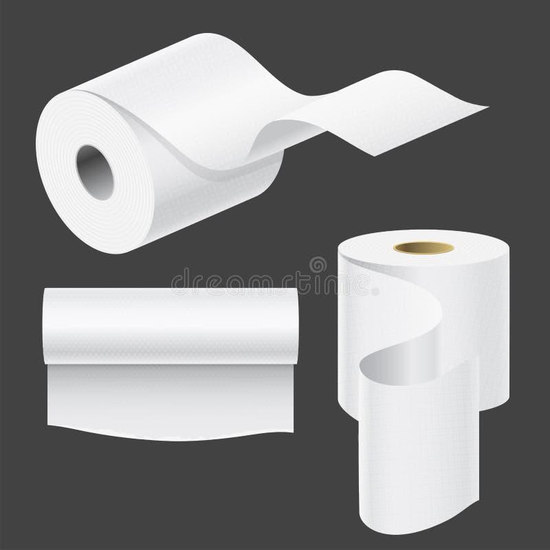 Realistyczny papierowy rolka egzamin próbny up ustawia wektorowego ilustracyjnego pustego biel 3d pakuje kuchennego ręcznika szab ilustracja wektor