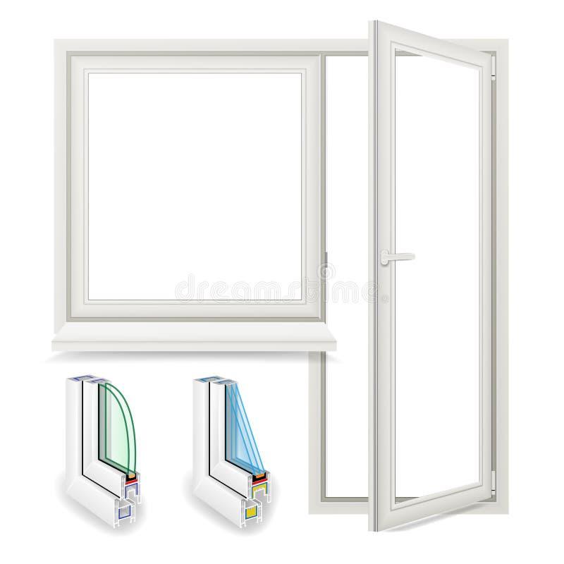 Realistyczny Plastikowy okno Z Drzwiowym wektorem button ręce s push odizolowana początku ilustracyjna kobieta ilustracji