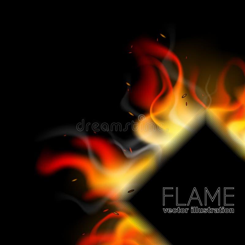 Realistyczny pożarniczy tło w rhombus Płomienia oparzenie projekt dla sztandarów, plakaty, masaże, zawiadomienia royalty ilustracja
