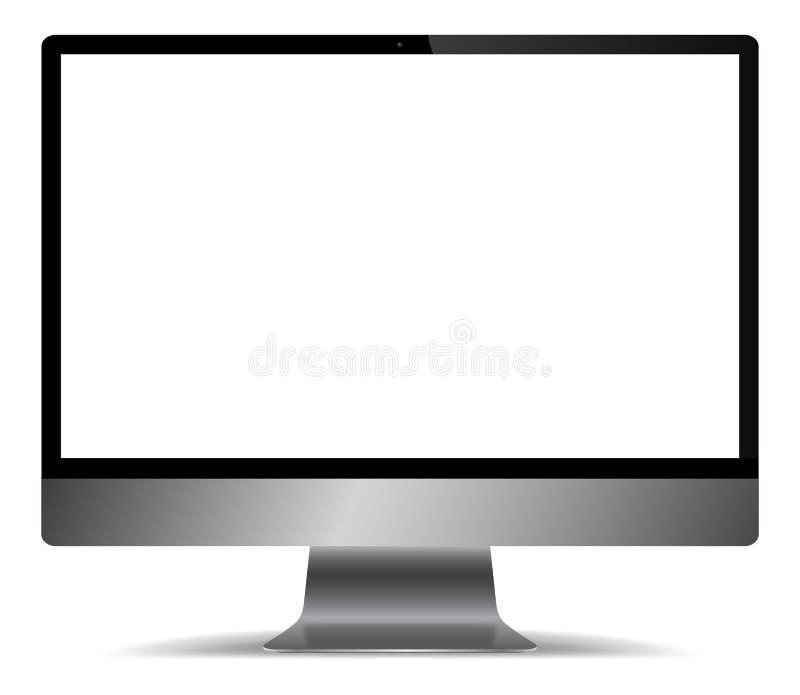 Realistyczny Popielaty metalu ekran komputerowy ilustracja wektor