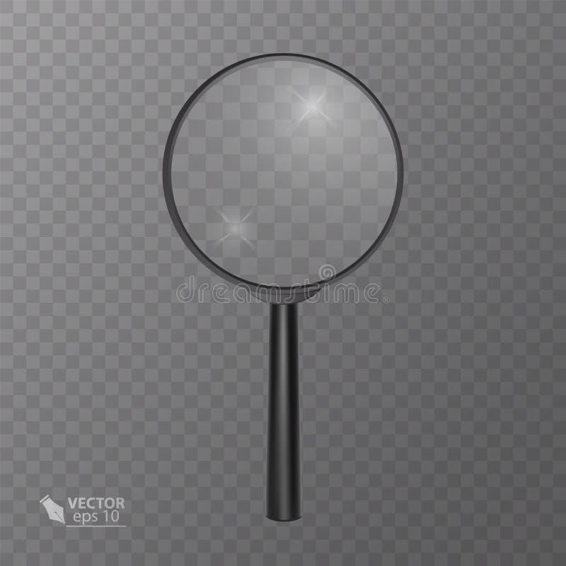 Realistyczny powiększać - szkło w czerni na przejrzystym tle, wektorowa ilustracja dla twój projekta lub projekt, royalty ilustracja