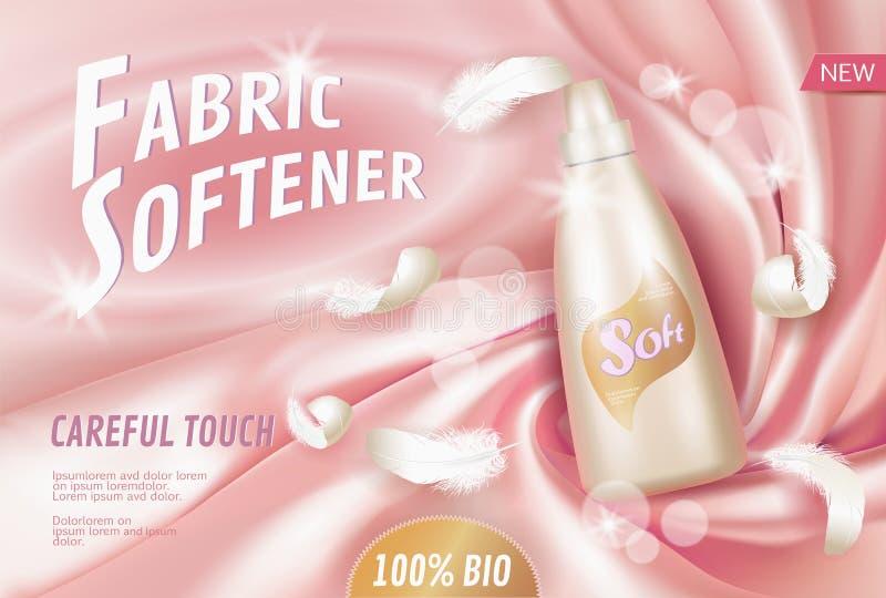 Realistyczny pralnianego detergentu tkaniny softener Tubka zbiornika reklamy plakata światła tła jedwabniczej miękkiej tkaniny bi ilustracja wektor