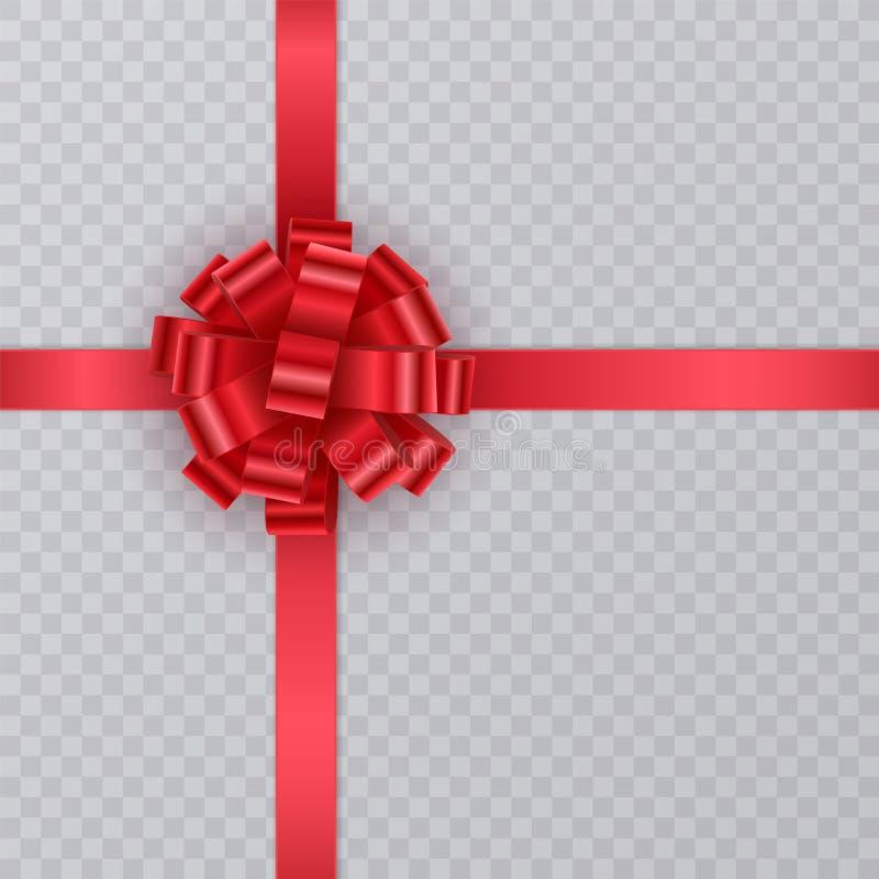 Realistyczny prezenta faborek, czerwony łęk na przejrzysty tło Prezenta element dla karcianego projekta kolor tła wakacje czerwon ilustracja wektor