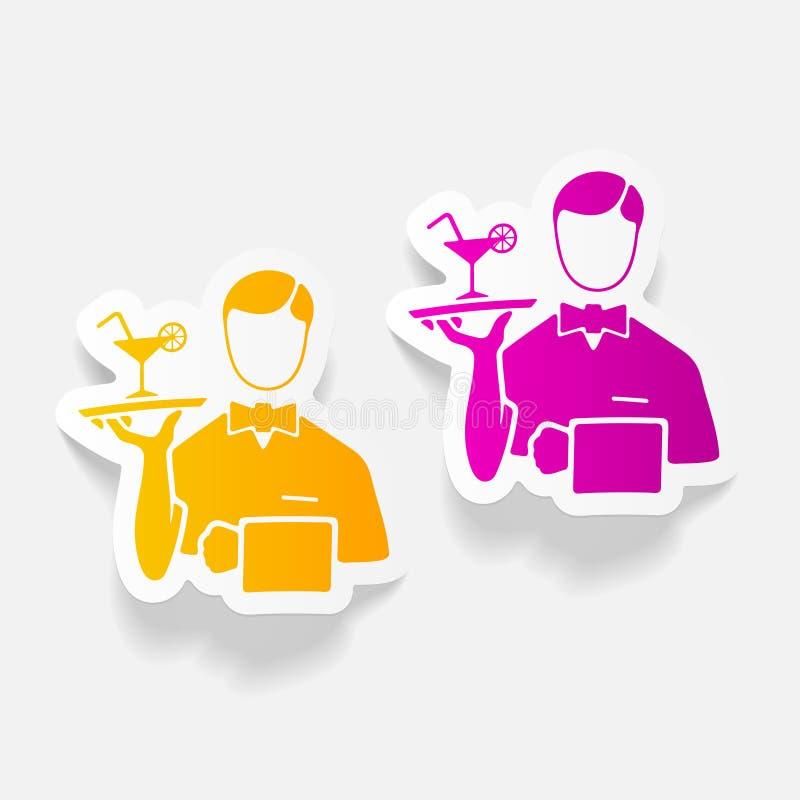 Realistyczny projekta element kelnerka ilustracja wektor