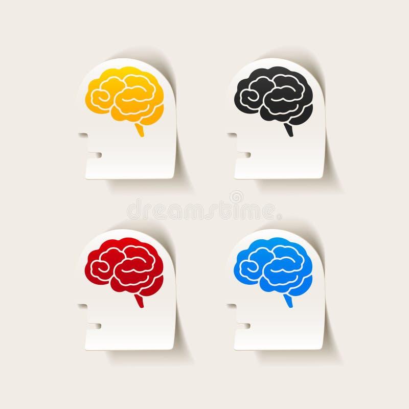 Realistyczny projekta element: kierowniczy twarz mózg ilustracji