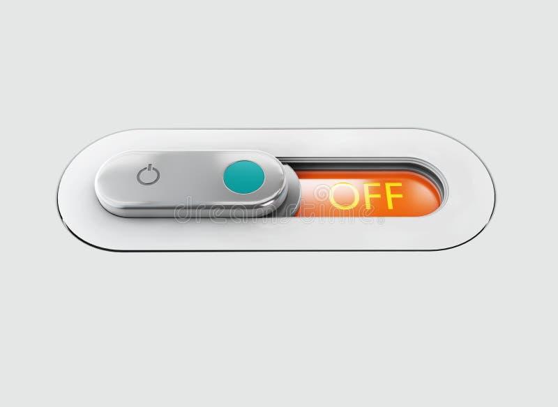 realistyczny przełącznikowy toggle Szary switche z backlight, z pozyci ilustracja 3 d zdjęcia royalty free