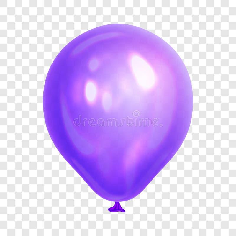Realistyczny purpura balon, odosobniony na przejrzystym tle royalty ilustracja