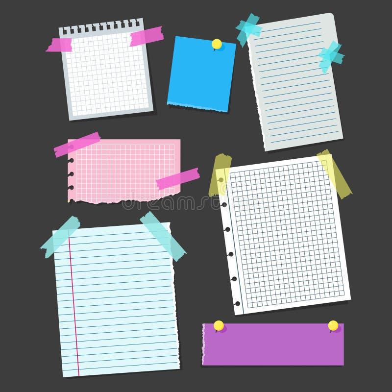 Realistyczny puste miejsce notatki koloru papier z kolor taśmy Kleistym setem wektor ilustracja wektor