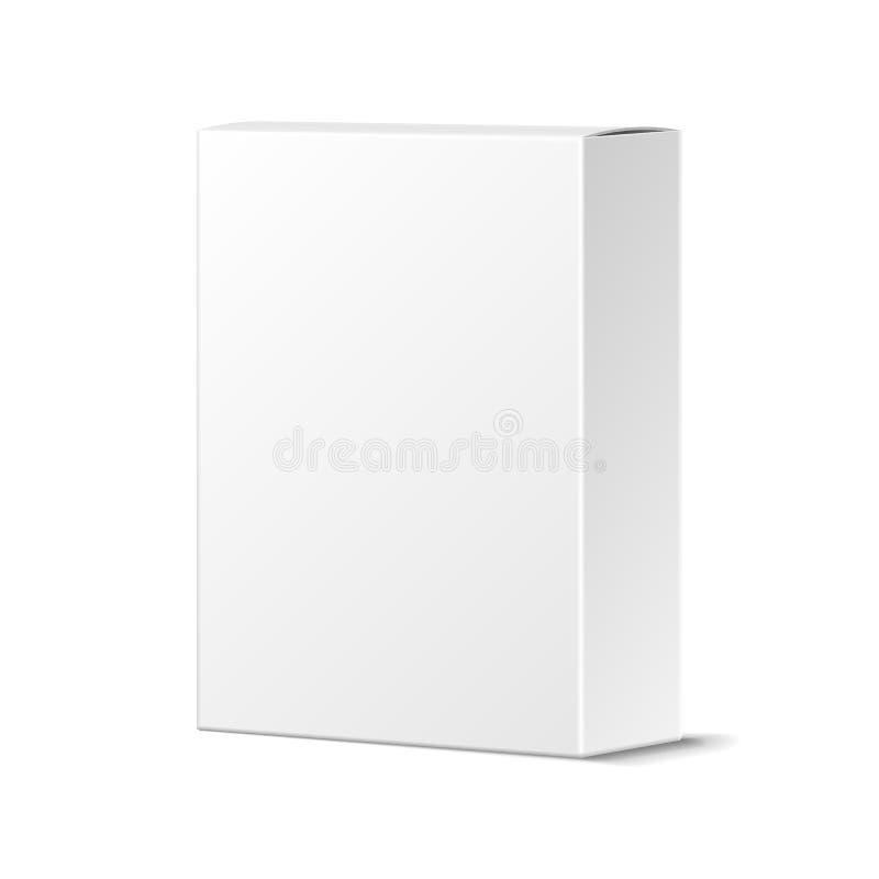 Realistyczny Pusty Biały produktu pakunku pudełka Mockup Zbiornik, Pac royalty ilustracja
