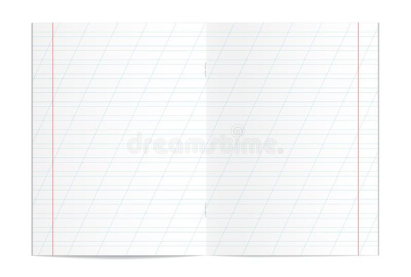 Realistyczny pusty handwriting praktyki kopii książki spreadsheet ilustracji