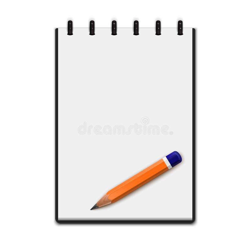 Realistyczny pusty notepad z ołówkiem ilustracji