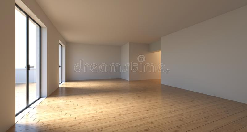Realistyczny Pusty pokój Z Dużymi nadokiennymi drzwiami W słonecznym dniu 3D rende ilustracji