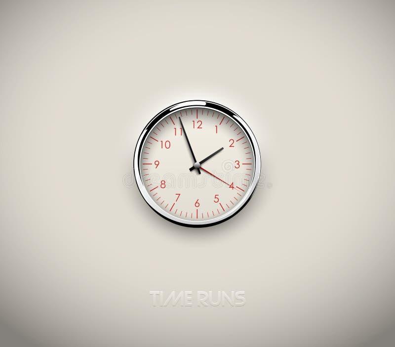 Realistyczny round zegar ciie za białym tle w Czerwona round skala, liczby i Chrome stali nierdzewnej ramy pierścionek przygotowy royalty ilustracja