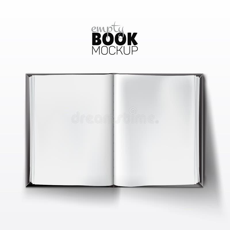 Realistyczny rozpieczętowany opróżnia książkowego mockup z pustymi białymi stronami ilustracji