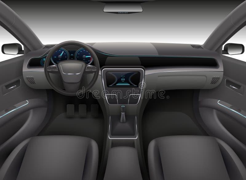 Realistyczny samochodowy wnętrze z rudder, deska rozdzielcza przodem i samochód przedniej szyby wektoru ilustracją, - panel ilustracja wektor