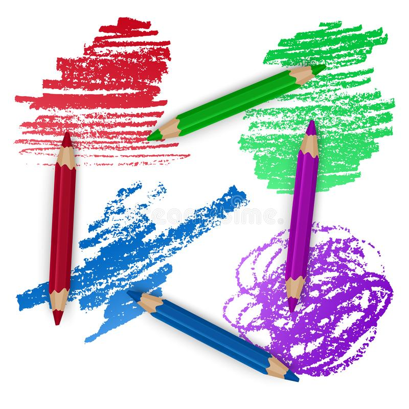 Realistyczny set Kolorowi Barwioni ołówki, kredki z Szczotkarskim uderzenia tłem szkoły sztuka, Z powrotem r?wnie? zwr?ci? corel  royalty ilustracja