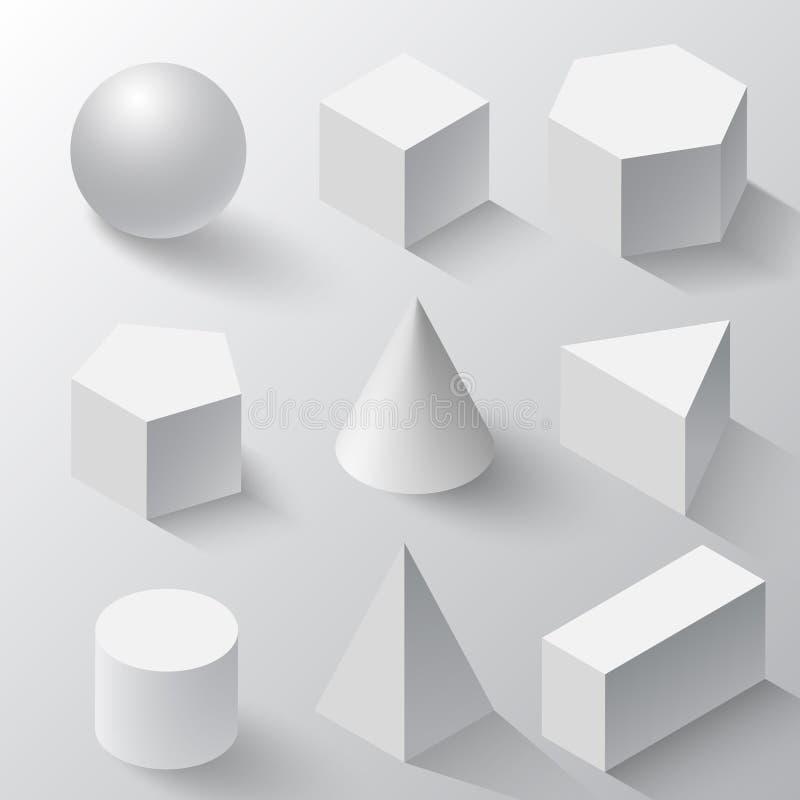 Realistyczny set podstawowi 3d kształty Biali sześcian, butla, sfera i rożek na białym tle, Realistyczni biali geometryczni kszta ilustracji