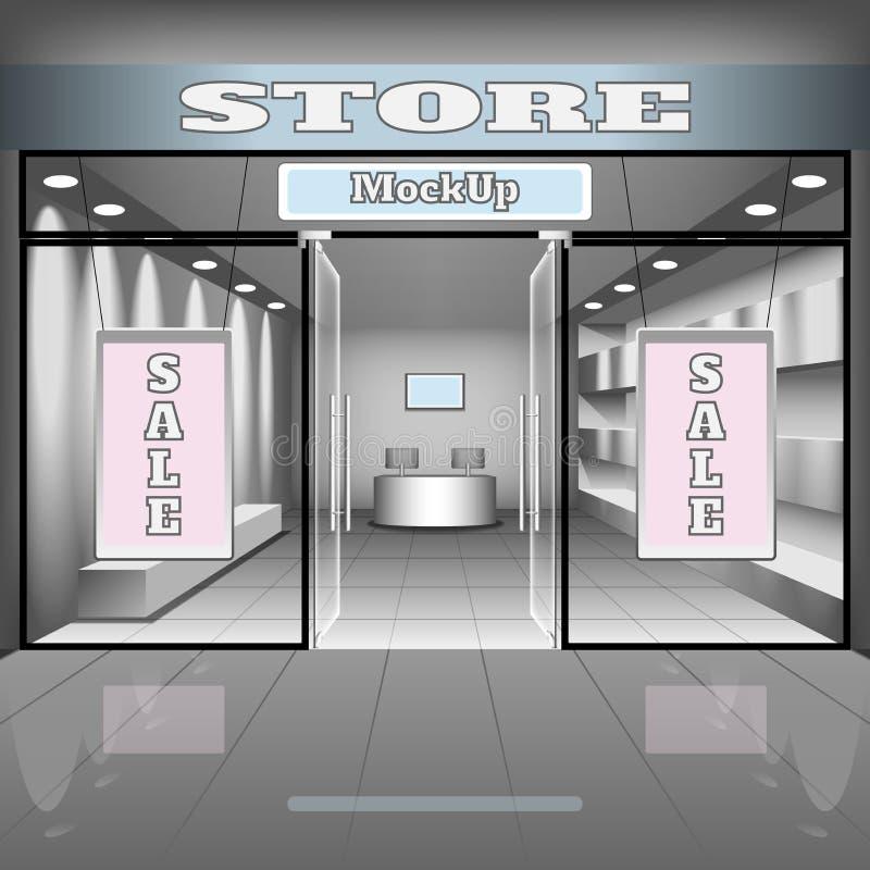 Realistyczny sklepu lub biura wnętrza szablon Butik ilustracja z shopwindow, półki, sztandary