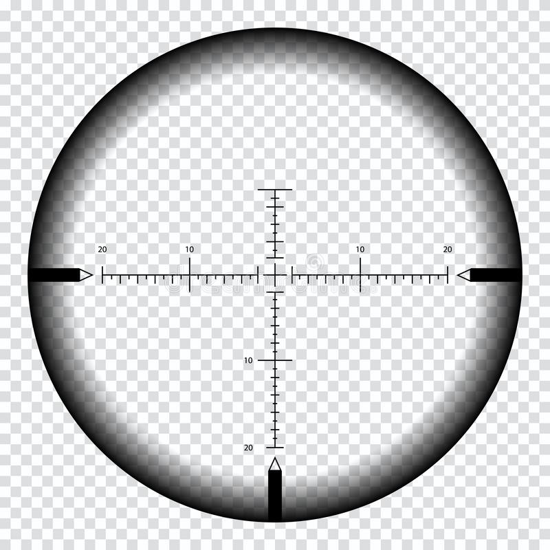 Realistyczny snajperski widok z pomiar ocenami Snajperski zakresu szablon odizolowywający na przejrzystym tle royalty ilustracja