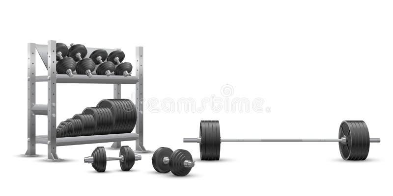 Realistyczny sprawność fizyczna wektor na białym tle olimpijski barbell, czerni żelazni dumbbells i składowa półka z barbell tale ilustracji