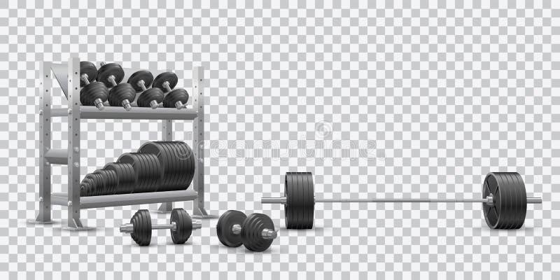 Realistyczny sprawność fizyczna wektor na przejrzystym tle olimpijski barbell, czarni dumbbels i składowa półka z barbell talerza ilustracja wektor